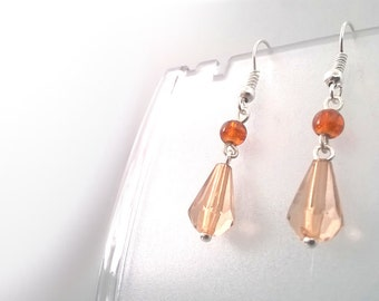 Brown Crystal Tear Drop Earrings, Gift for Her, Sterling Silver