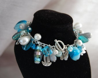 Bright Turquoise Blue, Sea Theme Cluster Bracelet, Gift for Her, Statement Bracelet, Mermaid, Boat, Fish, Nautical, One Of A Kind