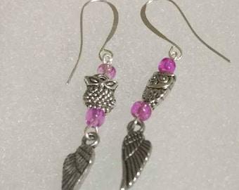 Pink Owl dangling Earrings