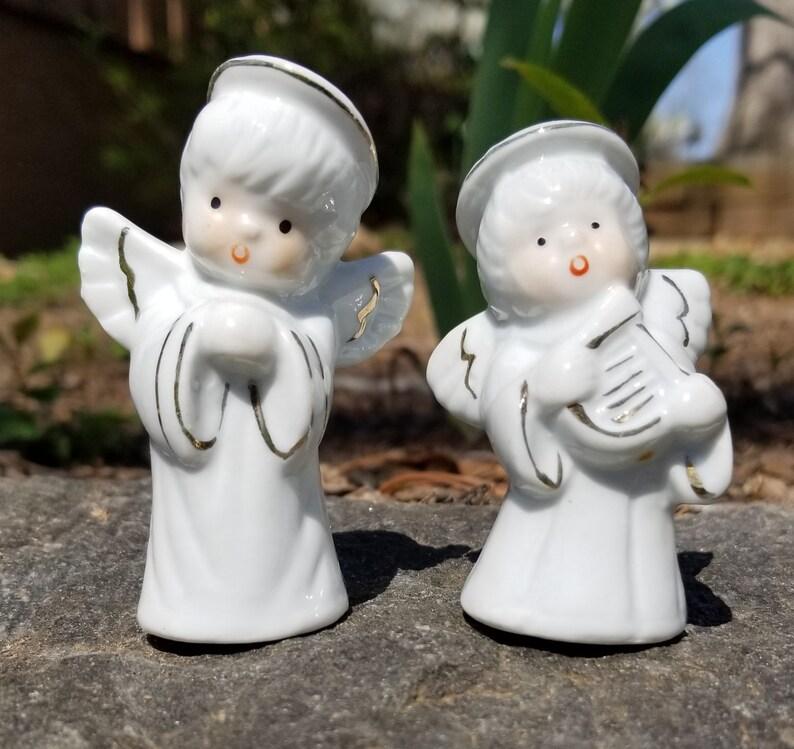 Vintage Porcelain Angel Shaker Set Porcelain Angel Shakers Porcelain Angel Salt and Pepper Shaker Set Vintage Angel Shakers