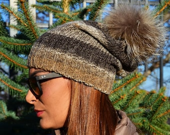 Knitted Wool Hat with Real Fur Pom Pom and a Matching Scarf  Slouchy Beanie  Hat and Chunky Scarf  Tuque Hat ce41c7c261c7