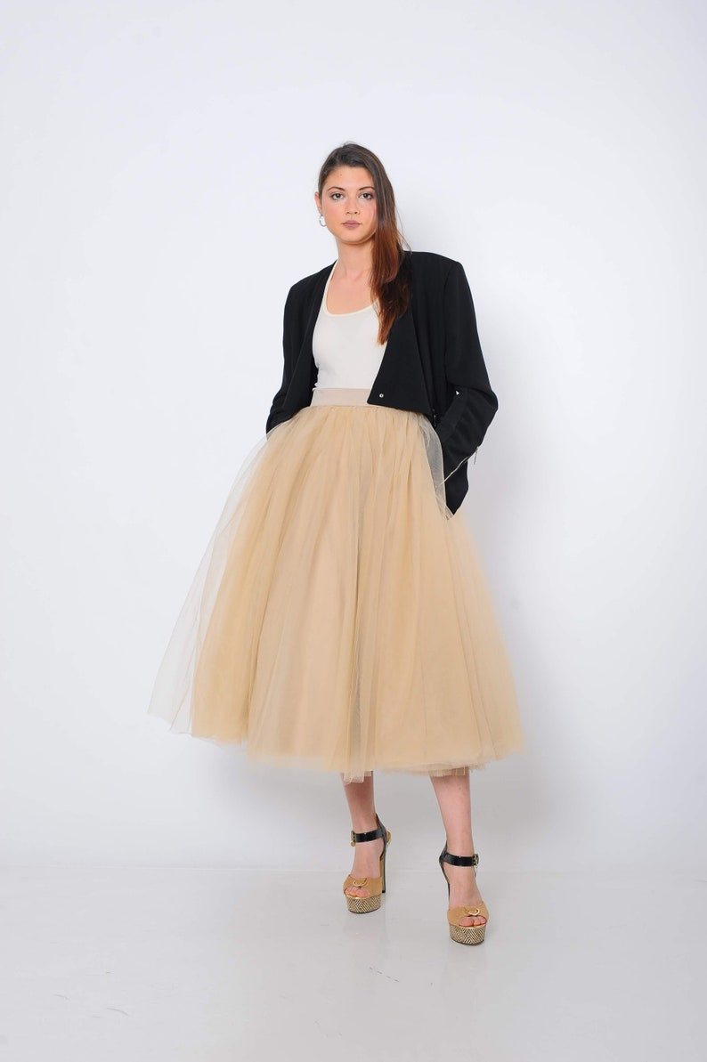 Nude Tulle Skirt with Pockets Party Skirt Wedding Skirt Quality Tulle SkirtTea Length Beige Tulle Skirt Skirt with Pockets