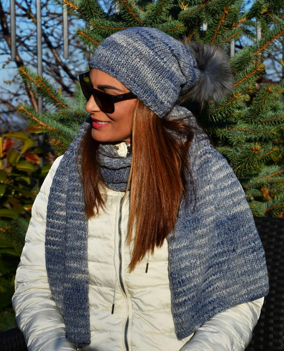 Knitted Wool Hat with Real Fur Pom Pom and a Matching Scarf   9e8549febf5f