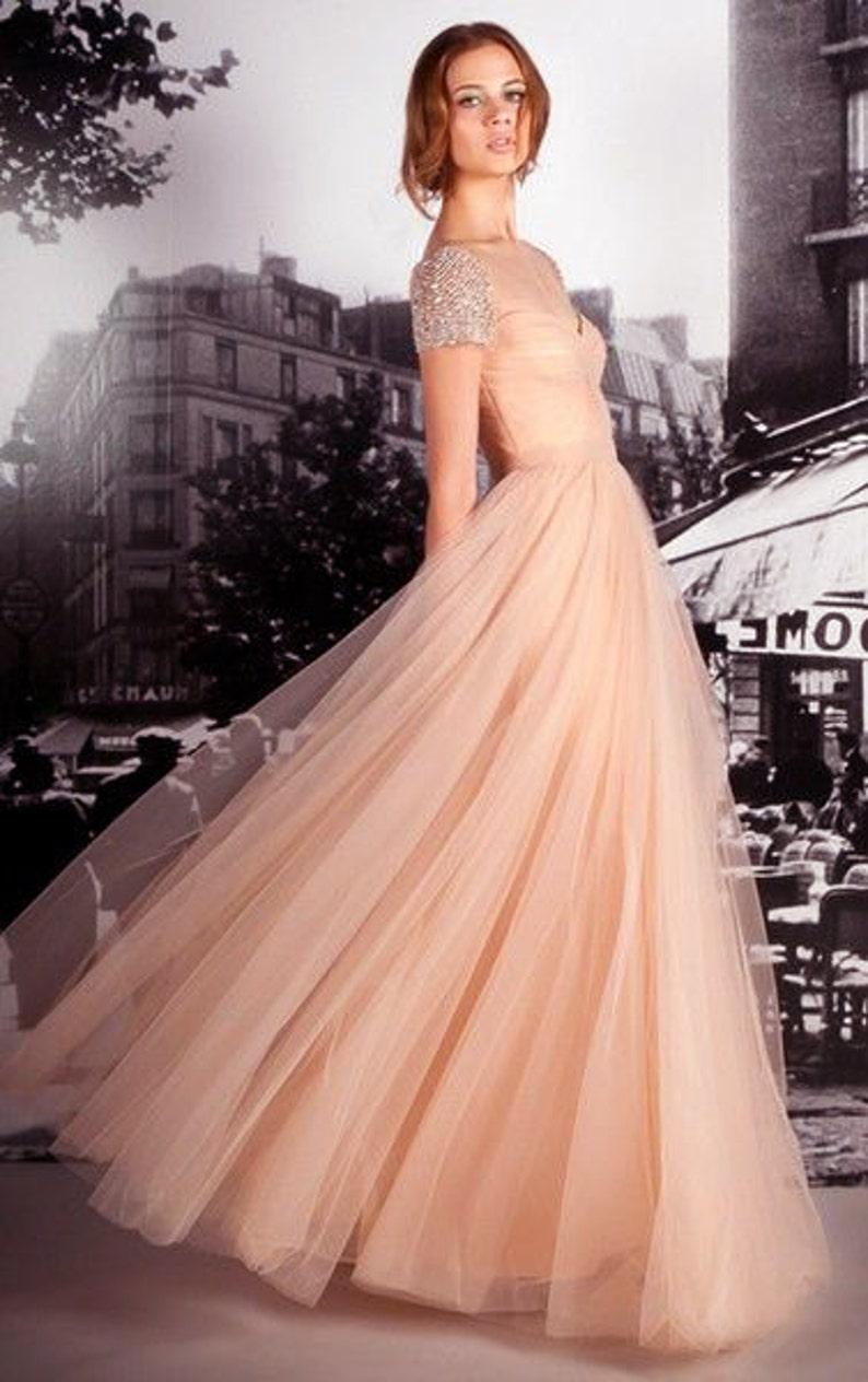 Blush Maxi Tulle Skirt  Long Nude Tulle Skirt Shades of Rose Floor Length Tulle Skirt Maxi Wedding Skirt