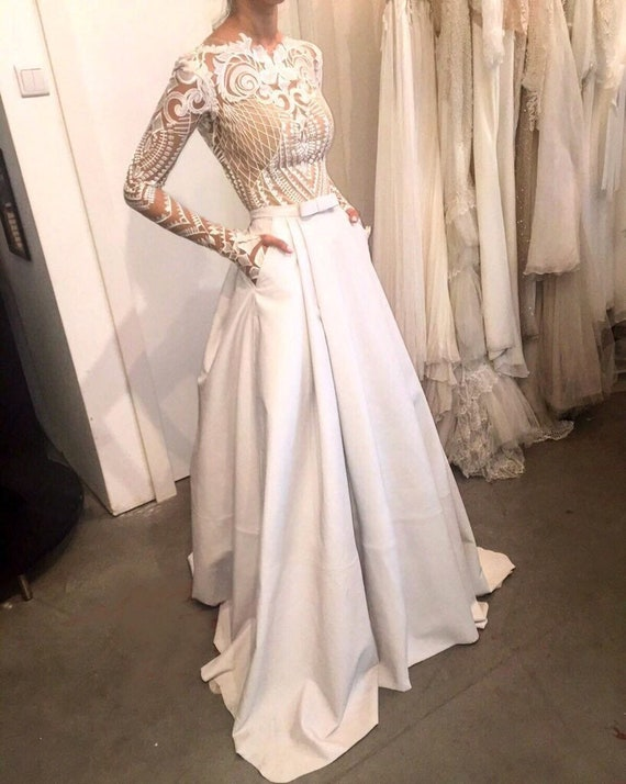 newest 11582 e4dcf Gonna/sposa gonna lunga asimmetrica / raso / Taffetta gonna / partito gonna  / bianco gonna nuziale / Bridal Dress