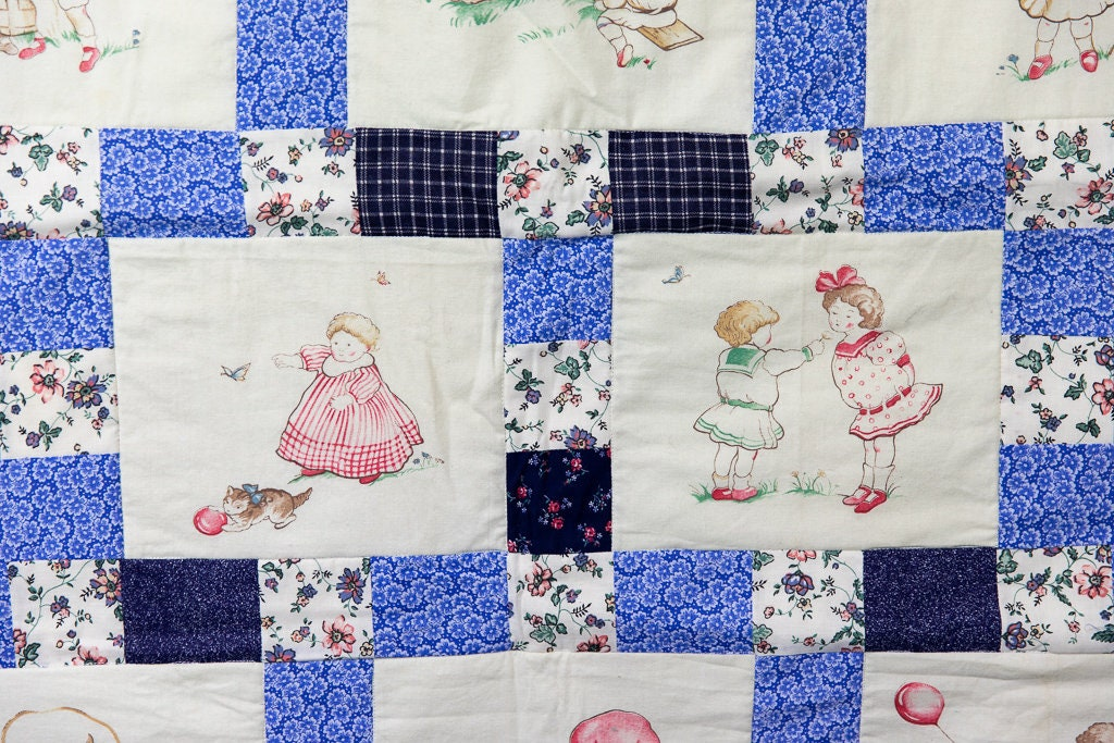 Vintage Patchwork Lap Quilt Classic Fabric Blue White Handmade Blanket Gift Ideas Christmas Gift