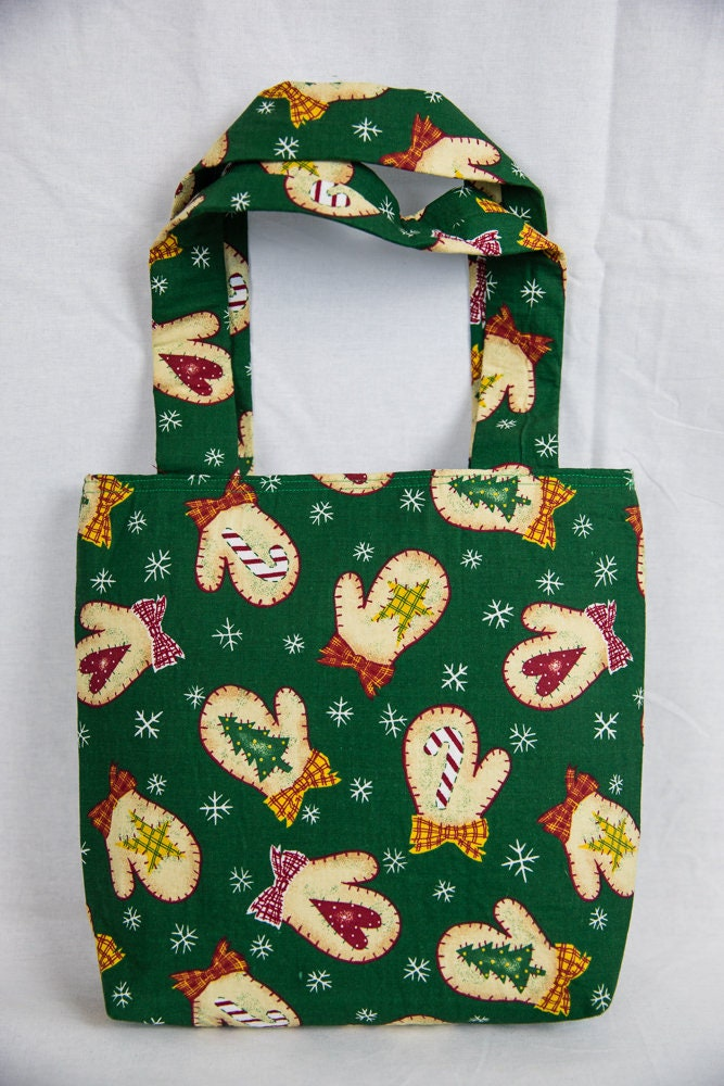 Christmas mittens gift tote bag stocking reusable gift bag wrapping ...