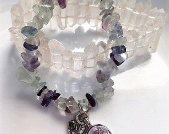 Rainbow Fluorite Druzy Bracelet