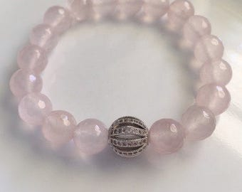 Rose Quartz Bracelet With Pave Clear Rhinestone Bead