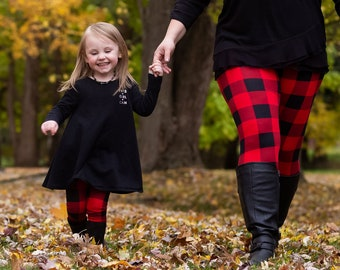 Buffalo Plaid Fall Leggings - Mommy and Me Leggings- Cozy and Soft Winter Leggings for Mother and Daughter
