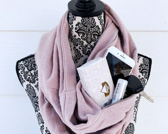 Infinity Scarf with Hidden Pocket - Womens Scarf - Winter Scarf - Infinity Scarf for Winter - Flannel Scarf
