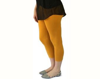 Womens Leggings - Cotton Leggings - Capri Length Legging - Solid Color Leggings - Capri Yoga Leggings - Ladies Leggings - Yoga Clothes Women