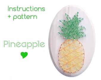 String art Pattern + Instructions - Pineapple String art - kitchen sign - diy kit - String art - Pineapple decor - DIY String Art