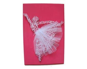 DIY Ballerina decor, Kid's craft, Nursery decor, Girl room decoration, gift for dancer, String art kit, DIY kit,
