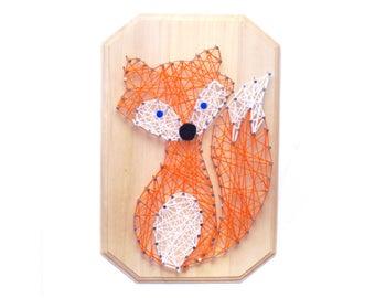 Fox DIY design, FOX String art, kid's craft, string art kit, nursery decor, birthday gift, craft activity, DIY fox