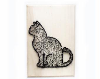 Fouinou, the curious cat - DIY Craft - DIY kit - String art kit - All included - creative kit