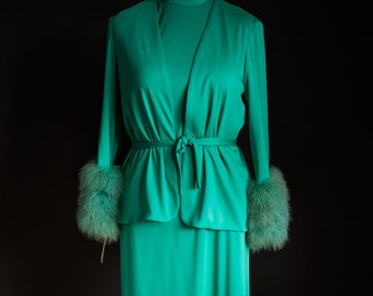 Deadstock Lilli Diamond Teal Green Blue Marabou Sleeve 2 Piece Dress With Tags Size 16 Large