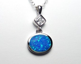 Blue /& Green CZ Pendant Sterling Silver Polished Clear
