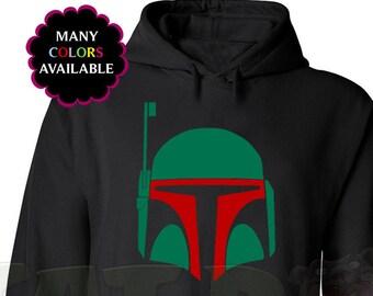 Star Wars Boba Fett Helmet Custom Hooded Sweatshirt (Hoodie) with Front Pocket (S-5XL) Star Wars Fan Gift, Gift Idea