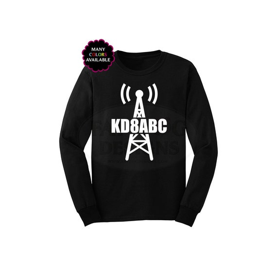 Ham Radio Amateur Radio Radio Tower with Call Sign Long-Sleeved T-shirt  (S-5XL) Custom Call Sign, Ham Radio Shirt, Call Sign shirt, Dad Gift