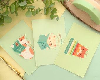 Book-Cats Postcard Prints // luxury soft touch postcards - pen pal, postcard, Digital Art, Illustration, cat, cute