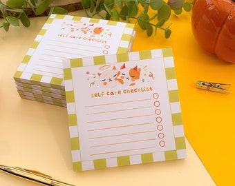 Spooky Cats Selfcare Checklist Pad //tear away memo pad, Digital Art, Stickers, Illustration, Stationary, autumn, cozy