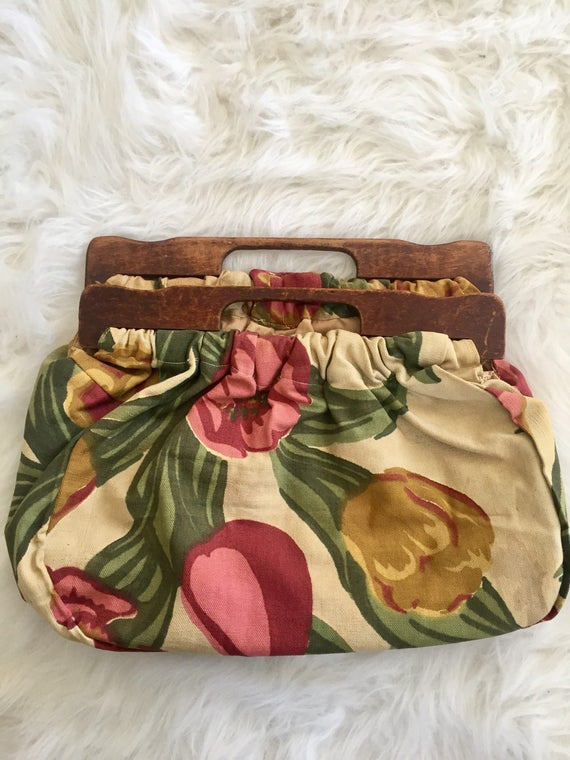 1940s Barkcloth handmade purse