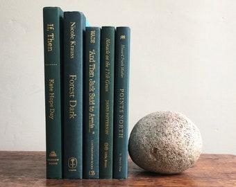 Dark Green Decorative Book Set, Book Bundle, Wedding Centerpiece, Books by Color, Mantel Decoration, Shelf Decor, Stack of Books