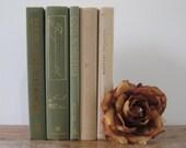 Green and Beige Decorative Book Set, Book Bundle, Stack of Books, Wedding Centerpiece, Gray Decor, Shelf Decor, Decoration, Books by Color