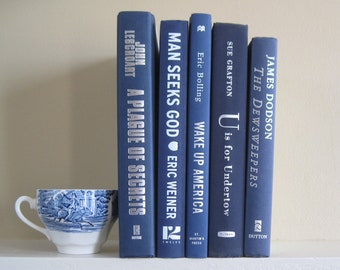 Navy Blue Decorative Book Set, Book Bundle, Blue Decor, Shelf Decor, Books by Color, Modern Vintage, Mantel Decoration, Wedding Centerpiece