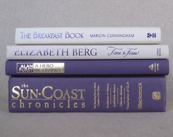 Decorative Book Set in Purple and Ivory, Book Bundle, Wedding Centerpiece Books, Home Staging, Farmhouse Books, Book Collection