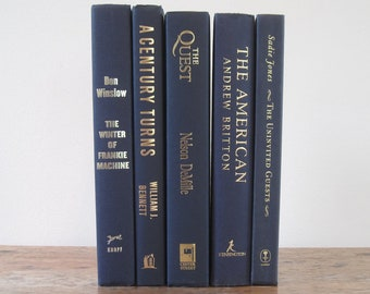 Navy Blue Decorative Books Set, Blue Decor, Wedding Centerpiece, Shelf Decor, Books by Color, Mantel Decoration, Stack of Books, Gold Titles