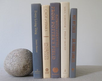 Gray and Cream Decorative Book Set, Book Bundle, Book Stack, Wedding Centerpiece, Gray Decor, Shelf Decor, Book Decoration, Books by Color