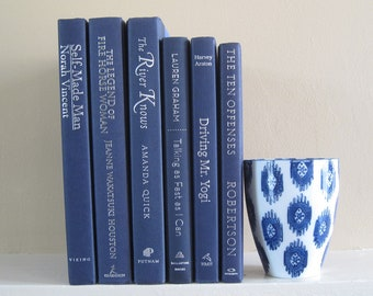 Blue Decorative Books Set, Book Bundle, Wedding Centerpiece Books, Shelf Decor, Blue Decor, Book Collection, Stack of Books, Books by Color