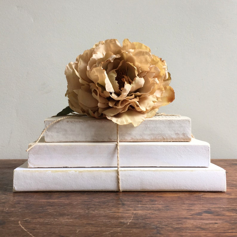 Vintage books stacked, tied with twine, and topped with everlasting tea color rose. White Tiered Decorative Books Set Farmhouse Decor White.