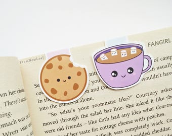 Cute Cookie and Hot Chocolate Magnetic Bookmarks