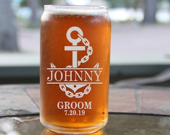Groomsman Gift,16 Ounce Engraved Can Glass,Beer Can Glass,Groomsmen Gift,Personalized Wedding Favors,Free Engraving,Laser Engraved Glass