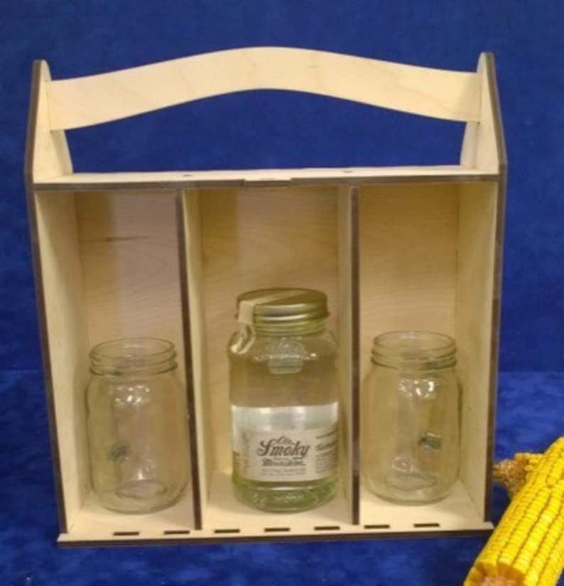 Wooden Personalized Moonshine Box-15 oz. engraved Mason Jar image 0