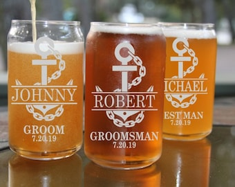 Set of 12 Engraved Beer Can Glasses,16 ounce Beer Can Glass,Groomsmen Gift,Personalized Wedding Favors,Free Engraving,Laser Engraved Glass