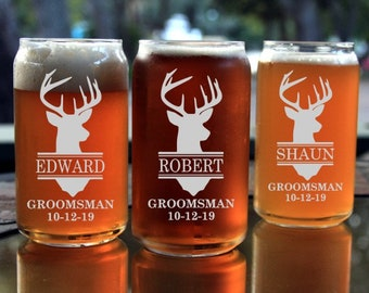Set of 6 Engraved Beer Can Glasses,16 ounce Beer Can Glass,Groomsmen Gift,Personalized Wedding Favors,Free Engraving,Laser Engraved Glass