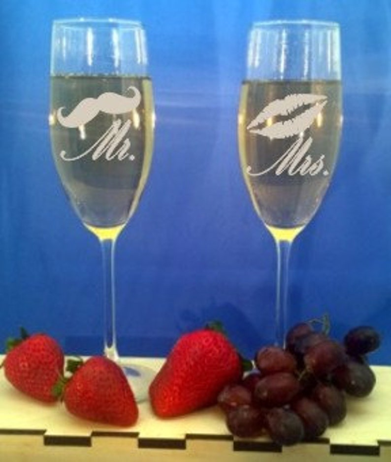 Personalized Champagne Glasses Custom Engraved Champagne image 0