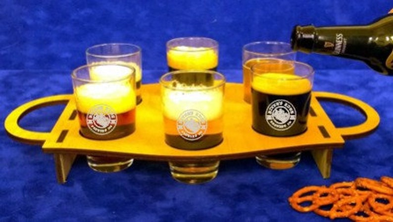 Personalized Oval Beer Flight Board with 6 glasses-Wooden beer image 0