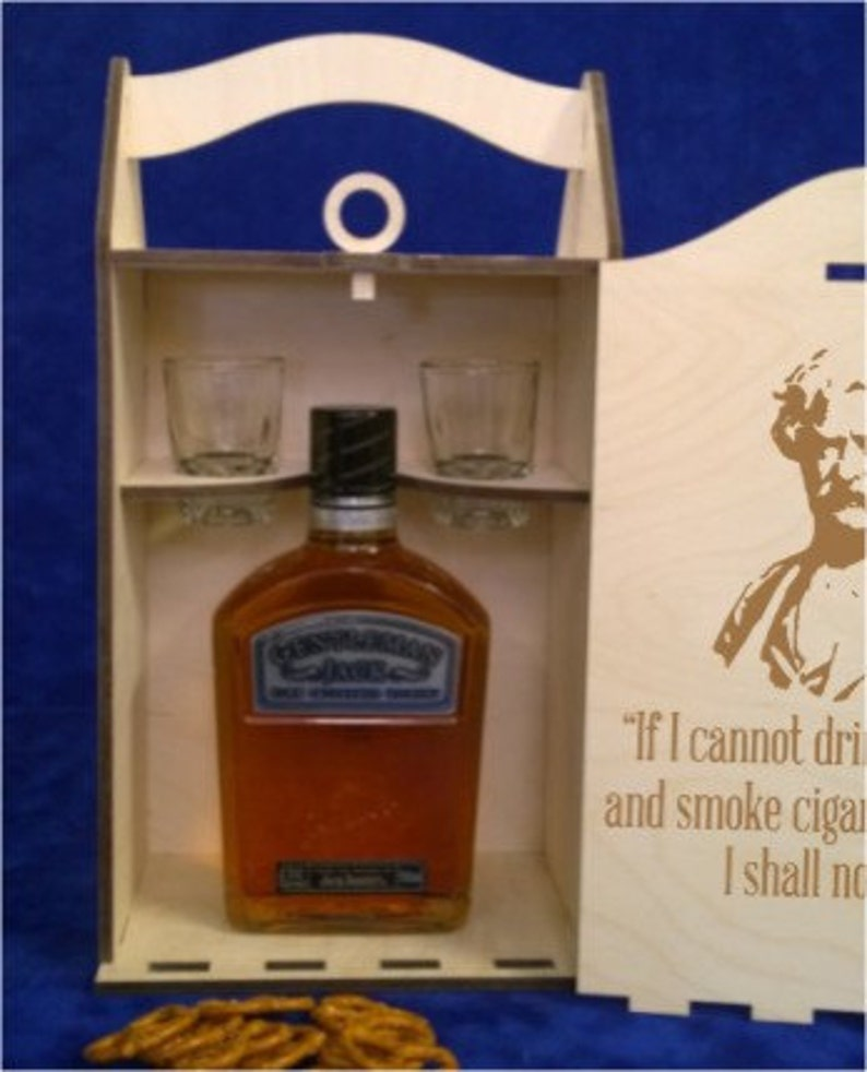 BW 403 Single Bottle Short 750 ml Spirits Box with two 2 oz. image 0