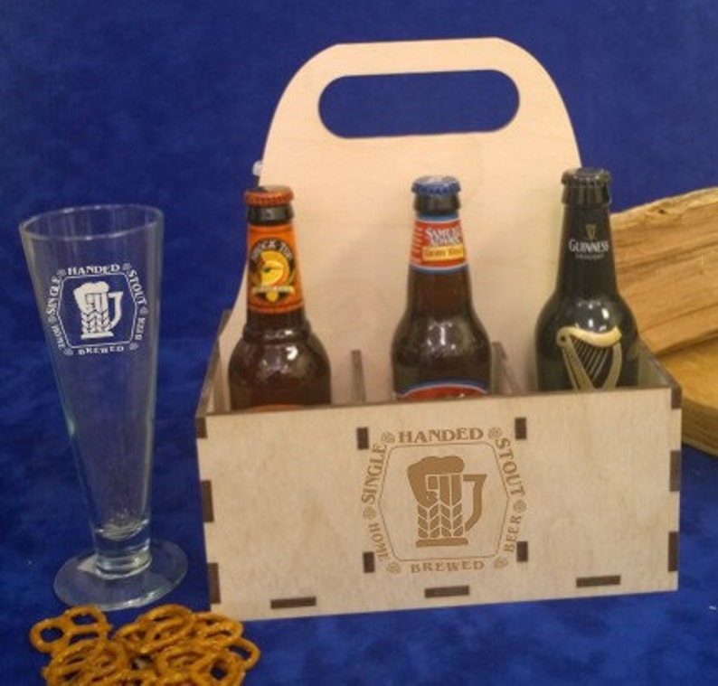 Personalized 6 Pack Beer Bottle Carton/Carrier Box-Engraved image 0