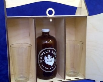 """Personalized Single 32 oz. """"Howler"""" Box withany 2 Pilsners, Pint Glasses,Beer Can Cooler Glasses-Wooden Beer Carrier-Engraved Beer Carrier"""