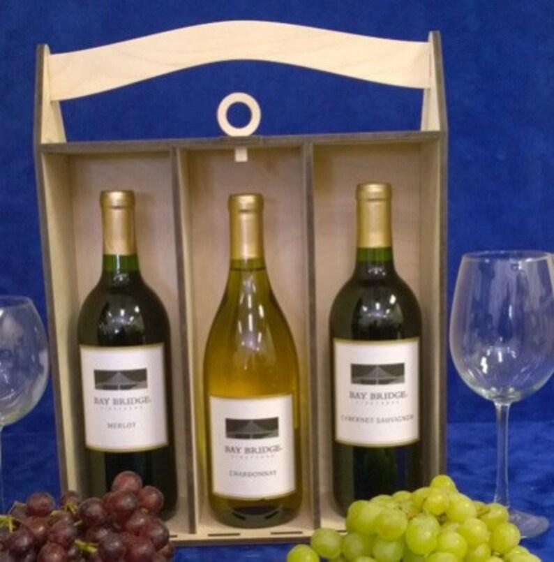Personalized Wooden 3 bottle Wine Box-Anniversary Wine image 0