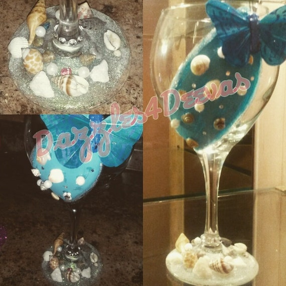 Beach Themed Hand Painted Wine Glass Hand Painted Glassware Etsy