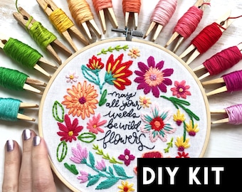 Weeds to Wildflowers DIY Kit Beginner Embroidery Pattern. Floral embroidery gift for her. Wildflower embroidery kit. Summer embroidery kit