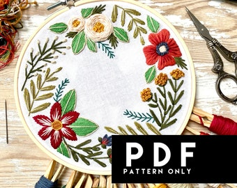 Changing Seasons Beginner Embroidery PDF. Hand Embroidery Floral Pattern. Instant Digital Download. Floral Embroidery DIY Pattern