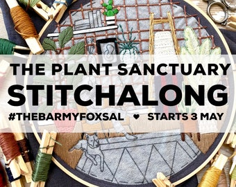 The Plant Sanctuary Instagram STITCHALONG Embroidery Pattern. Plants Digital Download Pdf Pattern. Plant lady Stitchalong Embroidery Pattern